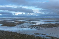 Ebb tide, National park wadden sea, Lower saxony, Germany, Europe. stock photography