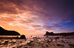 The ebb tide with sunset sky Stock Photography