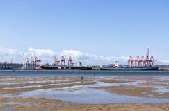 Ebbe in Durban-Hafen mit den Schiffen festgemacht im Hintergrund Lizenzfreie Stockfotos
