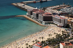EBeach and marina in Alicante, Spain Royalty Free Stock Photo