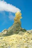 Ebeko火山,幌筵岛海岛,千岛群岛硫磺  免版税库存图片