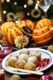 Ebelskiver,丹麦圣诞节薄煎饼吹 免版税库存图片