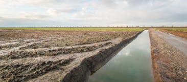 Eben gegrabener Abzugsgraben in einem Polder Lizenzfreie Stockfotos
