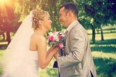 Eben halten verheiratetes Paar für Hand-instagram Zauntritt Stockbilder