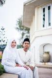 Eben verheiratete Paaraufstellung Stockfoto