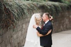 Eben verheiratetes Paar, das in Park w?hrend H?ndchenhalten l?uft und springt stockfoto