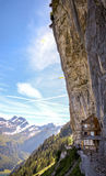 Ebenalp with its famous cliff inn Aescher, Switzerland. Ebenalp with its famous cliff inn Aescher - an attractive recreation mountain region in Canton Appenzell royalty free stock images