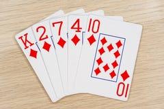 Ebene Diamanten - Kasino, das Schürhakenkarten spielt lizenzfreie stockfotografie
