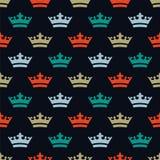 Ebene farbige Kronen Nahtloses Muster für neues Jahr Lizenzfreie Stockfotografie