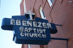 Ebenezer Baptist Church, Atlanta. ATLANTA, GA - JAN 15: The historic sign for Ebenezer Baptist Church hangs during renovations, on what would have been Martin Stock Photos