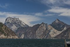 Ebensee sea and town in big Alps Stock Images