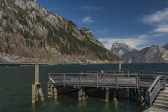 Ebensee sea and town in big Alps Royalty Free Stock Image