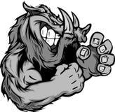 Eber oder wildes Schwein-Maskottchen mit den kämpfenden Händen Stockbild