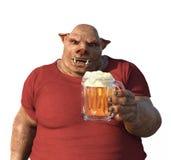 Eber ` s Kopf-Mann genießt ein Bier Stockbild