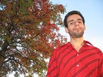 Eberesche-Baum und glücklicher Mann Lizenzfreie Stockfotografie