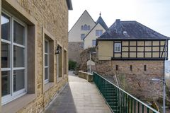 Ebernburg城堡坏曼斯特上午斯坦Ebernburg,德国 图库摄影