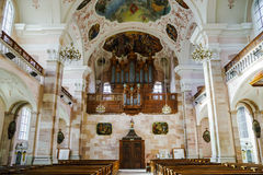 Ebersmunster Abbey Cathedral majestic interior. Baroque style, Alsace, France Stock Photos
