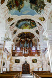 Ebersmunster Abbey Cathedral majestic interior. Baroque style, Alsace, France Royalty Free Stock Image