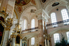 Ebersmunster Abbey Cathedral majestic interior. Baroque style, Alsace, France Stock Image