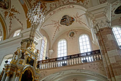 Ebersmunster Abbey Cathedral majestic interior. Baroque style, Alsace, France Stock Photography