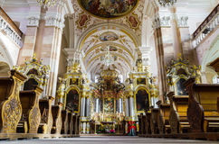 Ebersmunster Abbey Cathedral majestic interior. Baroque style, Alsace, France Stock Photo