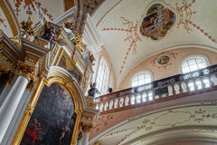 Ebersmunster Abbey Cathedral majestic interior. Baroque style, Alsace, France Royalty Free Stock Photo