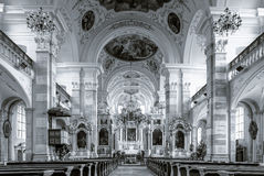 Ebersmunster Abbey Cathedral majestic interior. Baroque style, Alsace, France Royalty Free Stock Photos