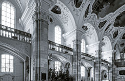 Ebersmunster Abbey Cathedral majestic interior. Baroque style, Alsace, France Stock Images