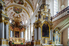 Ebersmunster Abbey Cathedral majestic interior Royalty Free Stock Images