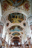 Ebersmunster Abbey Cathedral majestic interior. Baroque style, Alsace, France Royalty Free Stock Photography