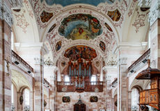 Ebersmunster Abbey Cathedral majestic interior Royalty Free Stock Image
