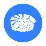 Ebi Nigiri icon in black style isolated on white background. Sushi symbol stock vector illustration. Ebi Nigiri icon in black style isolated on white background vector illustration