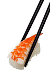 Ebi Nigiri sushi. Chopsticks holding Ebi Nigiri sushi isolated on white background stock photos