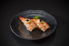 Ebi Nigiri, sushi de crevette, menu de bar à sushis photos libres de droits