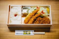 Ebi Tempura Bento on Brown Wooden Table royalty free stock images