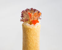 Ebi Tempura (Shrimp) Hand Roll Temaki. Sliced Meat Hand Roll Temaki on a crepe wrapper, white background Royalty Free Stock Image