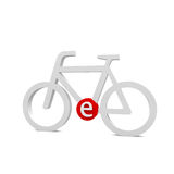 Ebike. Bike with a red E letter in the middle Stock Image
