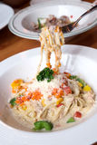 Ebiko cream sauce pasta. For meal Stock Images