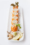 Ebiko Maki Roll Topping with Mayonnaise. Stock Photo