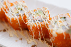 Ebiko Maki Roll Topping with Mayonnaise. Stock Photography