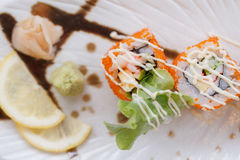 Ebiko Maki Roll Topping with Mayonnaise. Ebiko Maki Roll : Japanese Steamed Rice and Ebiko Rolled with Kani, Tamagoyaki Japanese Omlette, Avocado, Cucumber and Stock Photo