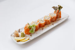 Ebiko Maki Roll Topping with Mayonnaise. Ebiko Maki Roll : Japanese Steamed Rice and Ebiko Rolled with Kani, Tamagoyaki Japanese Omlette, Avocado, Cucumber and Stock Photography