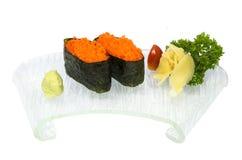 Ebiko sushi. On the white background Stock Photos