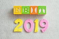 2019 EBIT - przychody przed dochodem i podatkami Fotografia Royalty Free