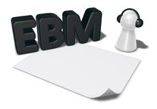 Ebm tag, blank white paper sheet and pawn with headphones Stock Photography