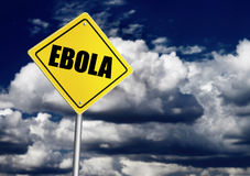 Ebola ahead sign. Over dark sky royalty free stock photos