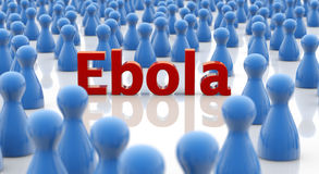 Ebola alert. Word ebola in a crowd of blue pawns Stock Photography