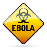 Ebola Biohazard virus danger sign with reflect and shadow on whi Royalty Free Stock Image