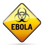 Ebola-Biohazard-Viruswarnschild mit denken nach und beschatten über whi Lizenzfreies Stockbild