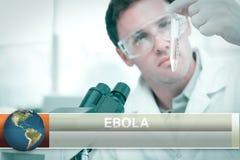 Ebola-Blitznachrichten mit medizinischen Bildern Stockbild